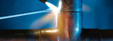 Welding, Joining of copper fittings, Detail view.