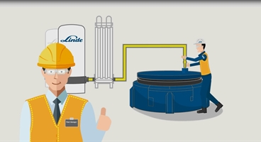 Cutout of Carbojet Simulation showing customer and Linde Expert installing Carbojet technology into customer furnace